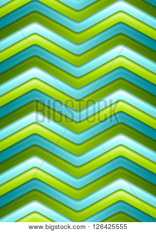 Abstract green and turquoise curved stripes design template. Bright vector tech graphic background