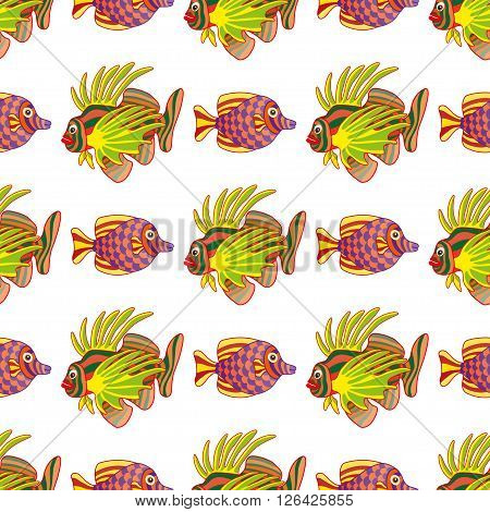 Graphic lion fish isolated on white background. Sea and ocean creature in black and white colors. Coloring book page design