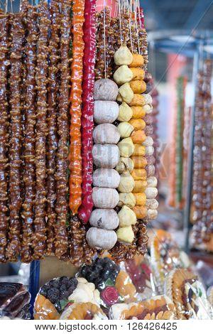 Dried fruits and churchkhela at armenian market