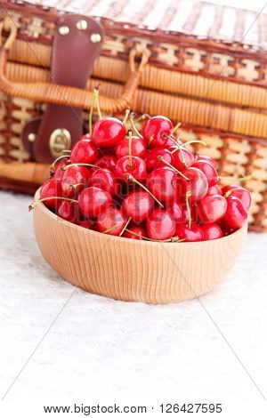 bowl of fresh red cherries - fruits and vegetables