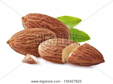 Almonds in closeup on a white background