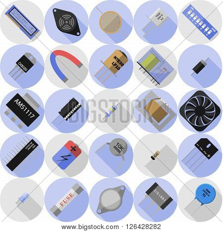 Vector set of icons of electronic components