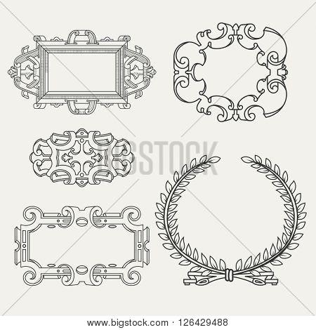 Set of vintage frames, design elements.