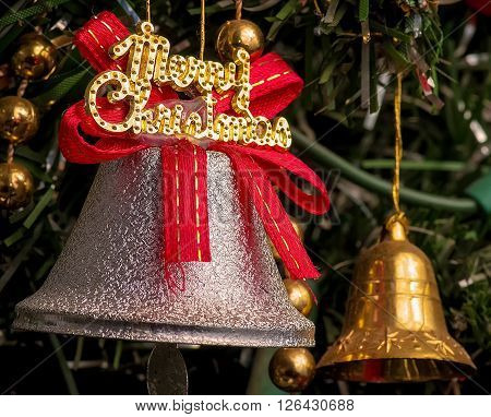 Silver ring bell with merry christmas decoration