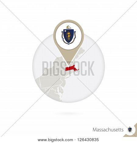 Massachusetts Us State Map And Flag In Circle. Map Of Massachusetts, Massachusetts Flag Pin. Map Of