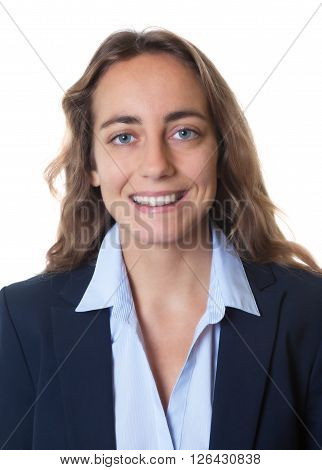 Passport photo of a blond businesswoman with blue eyes and blazer on an isolated white background for cut out
