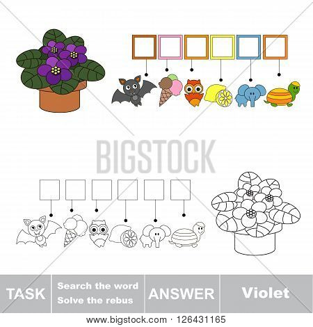 Vector rebus game for children. Find solution and write the hidden word Pot Violet