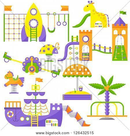Children playground fun childhood play park activity flat vector illustration.
