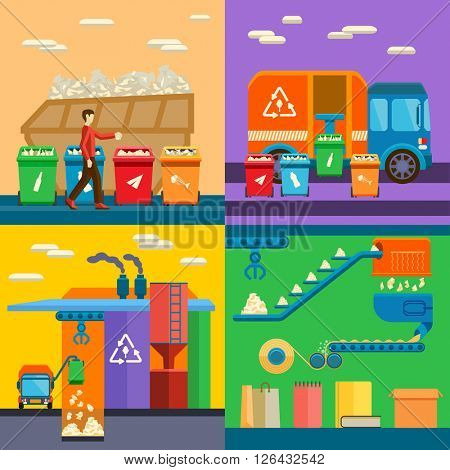 Waste sorting garbage recycling environment flat style vector illustration.