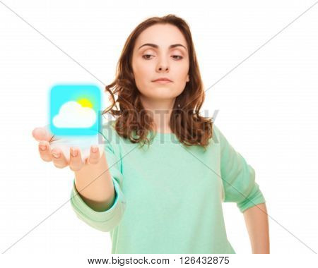 Cloudy weather icon on woman's hand (focus on icon)