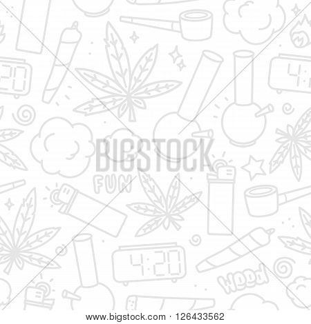 Marijuana weed cartoon seamless vector pattern white and grey
