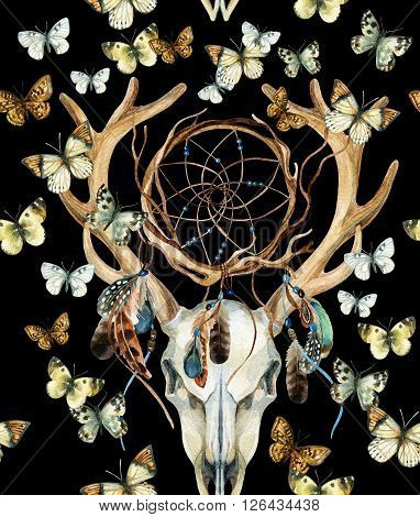 Deer skull seamless pattern. Animal skull with dreamcather and butterfly. Deer skull and ethnic dreamcatcher with feathers and butterfly seamless pattern on black background. Watercolor hand painted illustration.
