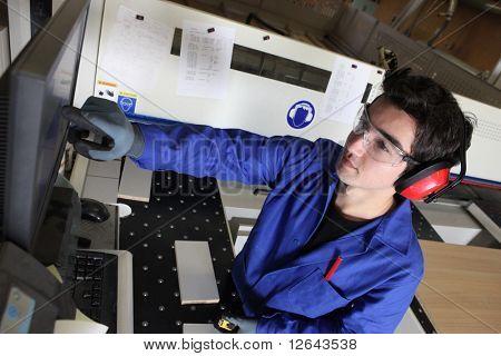 Portrait of a carpenter in workshop
