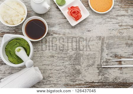 Sauces For Sushi With Ginger And Wasabi On A Rustic Table