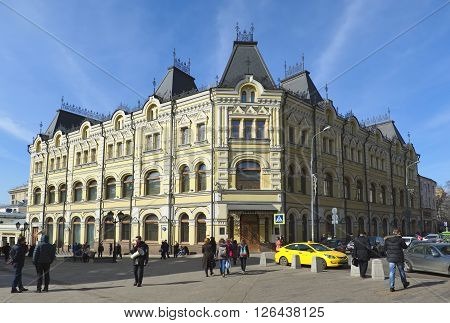 MOSCOW, RUSSIA - MARCH 28, 2016: Former Profitable house Located on the corner of Kuznetsky Most and Rozhdestvenka. Built to order merchants-Maecenas Tretyakovs an object of cultural heritage Kuznetsky Most Street 13/9 1891-1892 years