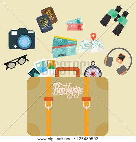 travel bon voyage baggage leather suitcase object carry like camera passport map and ticket vector