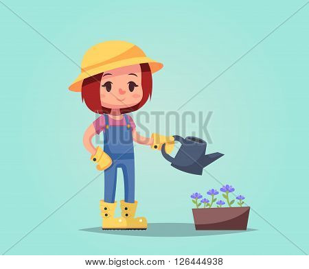 girl woman happy cartoon gardener with watering can flower pot vector illustration esp10