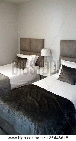 Room holiday apartment décor design bedding white color background furniture holiday hotel travel vacation