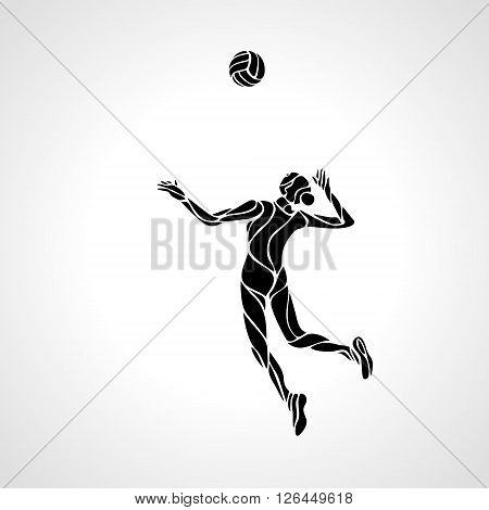 Stylized line design of a female volleyball player getting ready to spike the ball Volleyball player serving the ball - black vector silhouette. Modern simple volleyball logo. Eps 8