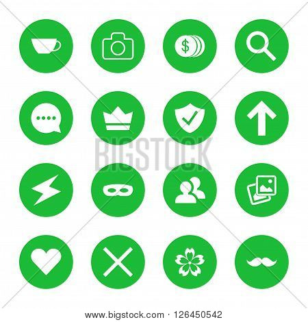 Vector set of flat web icons. Vector illustration of green icons in round frames.