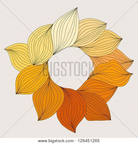 Wreath From Yellow Leaves. Template For Wedding, Mothers Day, Birthday, Invitations. Vector Illustra