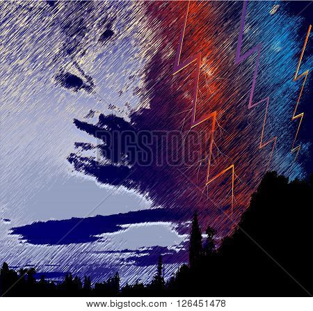 Dark panoramic landscape with silhouettes of trees, red clouds and torrents of rain