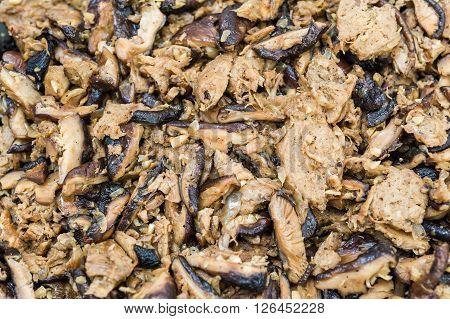 Closeup Of Mushroom And Mock Meat Ingredients