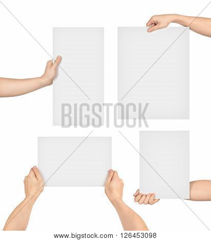 collection of hands holding paper isolated on white background