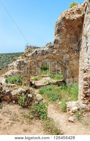 Montfort Castle ruins in northern Israel. Arched passageways through the halls.