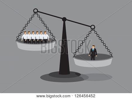 One manager on one side of weighing scale is heavier than many executives the other side. Creative vector illustration on value of employees concept isolated on grey background.