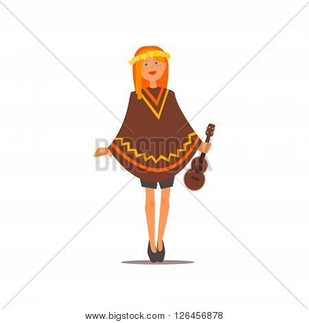 Hippy Girl With A Guitar Isolated Primitive Design Style Vector Illustration on White Background