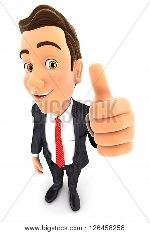 3d businessman positive pose with thumb up isolated white background