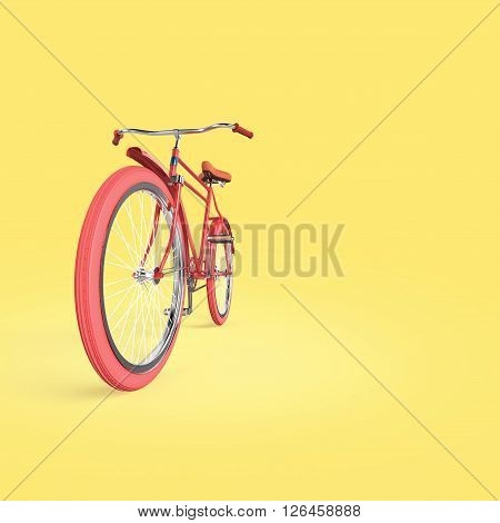 Bicycle concept poster design, retro bike 3D render, isolated on color backgound with place for text. sports hipster ride summer event concept