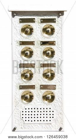vintage house doorbell isolated on white background