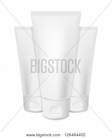 Photorealistic vector cream tubes on white background
