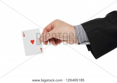 male hand with ace card isolated on white