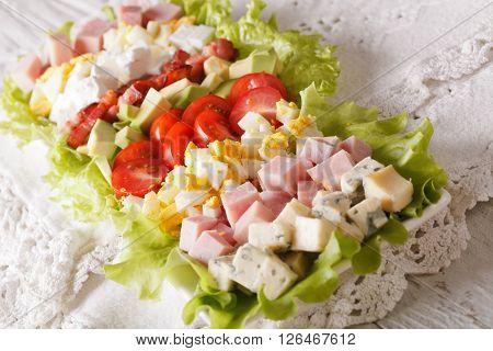 Traditional American Cobb Salad Close-up. Horizontal
