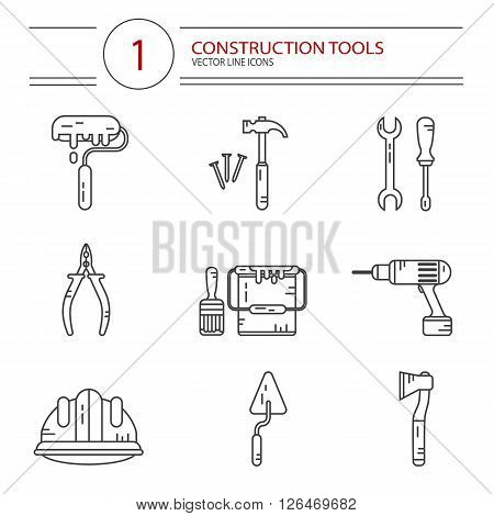 Vector modern line style icons set of construction tools: hammer and nails, screwdriver, wrench, pliers, paint roller, paint bucket, brush, ax, drill, spatula, helmet. Isolated on white background.
