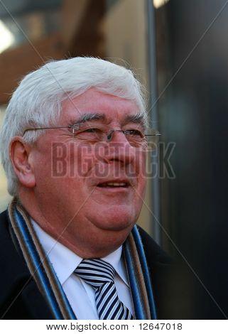 Minister Bat O'Keefe arriving at Dail Eireann