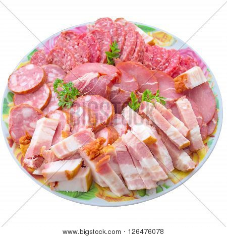 Meat sausage pork butcher variety salami food beef delicious smoked.