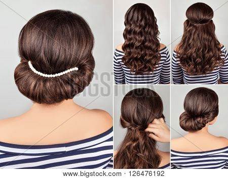 greek style hairdo with string of pearls tutorial. Hairstyle for long hair. Sea style.