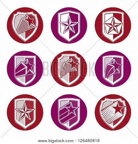 Heraldry set of military forces emblems. Detailed shields with pentagonal star vector sheriff decorative blazon.
