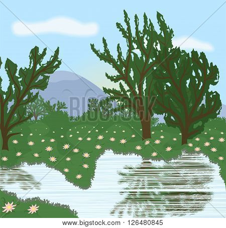 the illustration of a beautiful landscape near the lake.