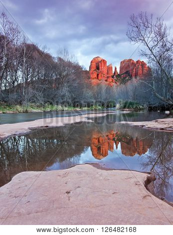 A View of Sedona's Oak Creek and Cathedral Rock at Sunset
