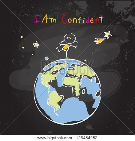 Confident child, girl, happy successful schoolgirl on top of the world, globe. Conceptual vector illustration, chalk on blackboard doodle, hand drawn sketch, scribble.