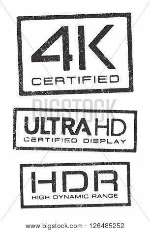 Vector illustration of different certified stamps about the new video technologies 4K, Ultra HD and UDR.