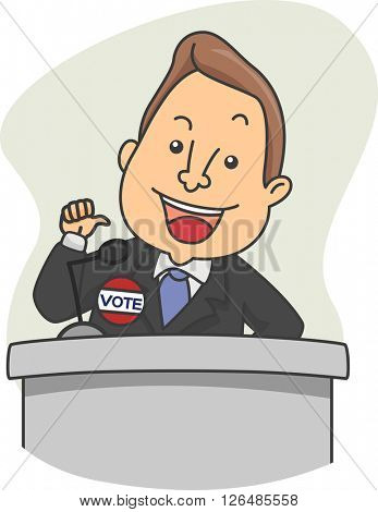 Illustration of a Political Candidate Delivering a Speech