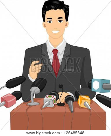 Illustration of a Politician Speaking in Front of a Crowd of Journalists