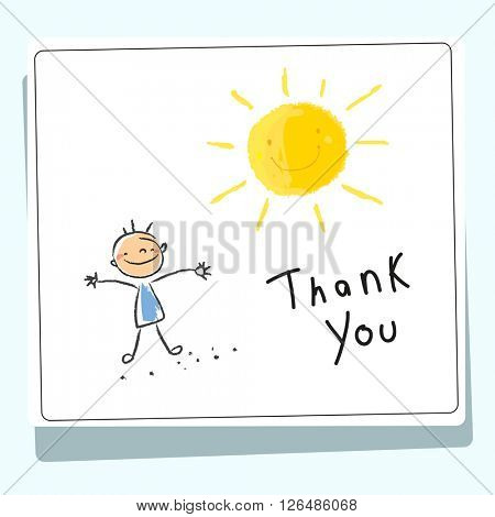 Kids thank you card vector illustration.