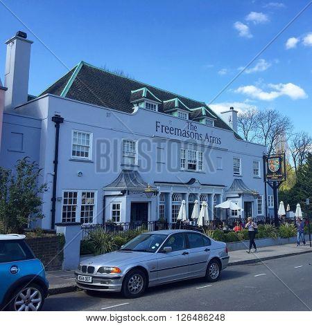 LONDON - APRIL 19: The Freemasons Arms Pub on April 19, 2016 in Hampstead, London, UK.